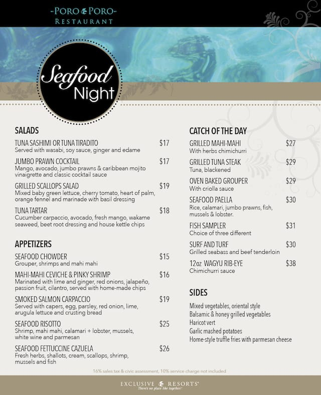 Seafood Night-Menu