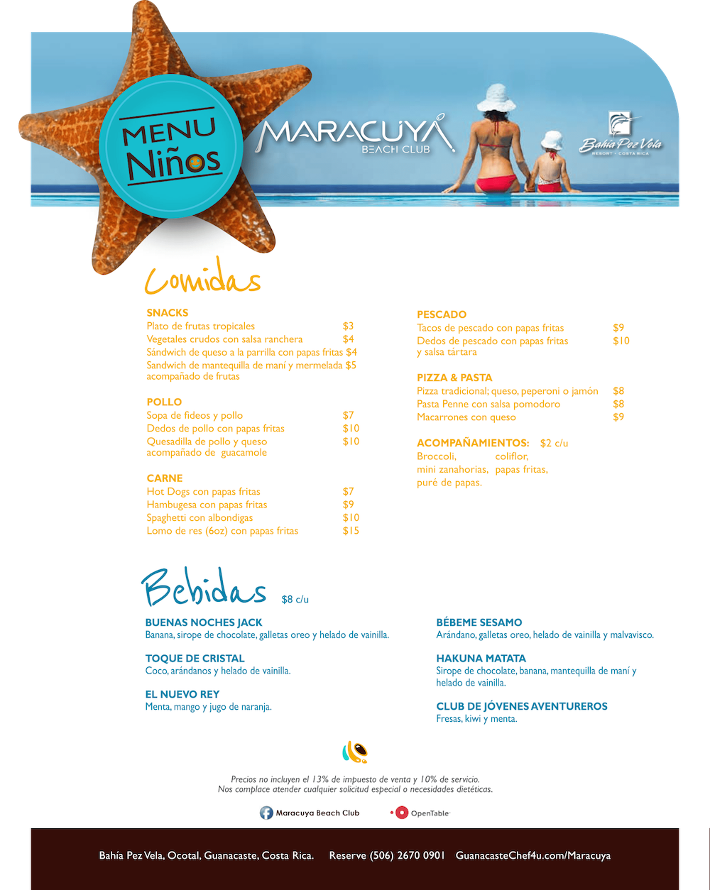 Menu niños Maracuya Beach Club Costa Rica